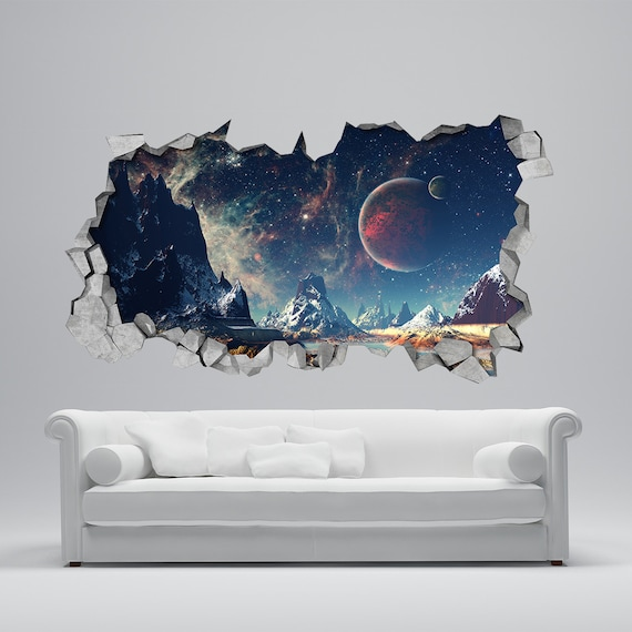 space broken wall decal 3d wallpaper 3d wall decals 3d | etsy