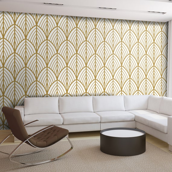 Art Deco Leaves Wallpaper Outlines Mid Century Modern Removable Wallpaper Peel Stick Self Adhesive Fabric Sku Artdec