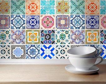 Traditional Spanish Tiles Stickers - Tiles Decals - Tiles for Kitchen Backsplash or Bathroom - PACK of 32 - SKU:SPANTILES