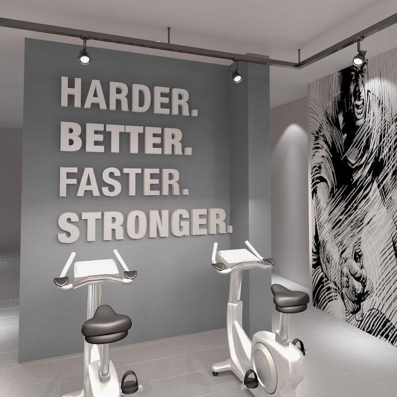 Gym gym decor harder better faster stronger gym etsy