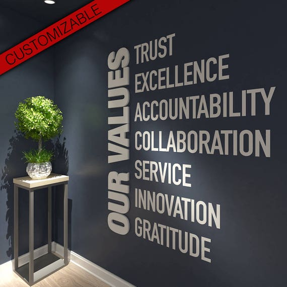 Our Values Office Wall Art Decor 3d Pvc Typography Etsy