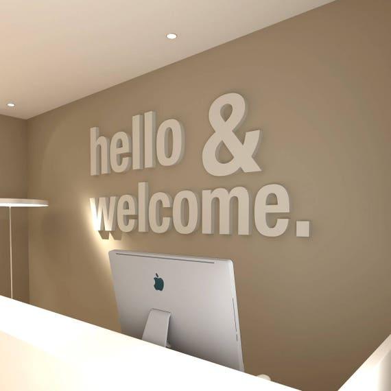 Hello Welcome 3d Office Buro Dekoration Dekoration Wall Etsy