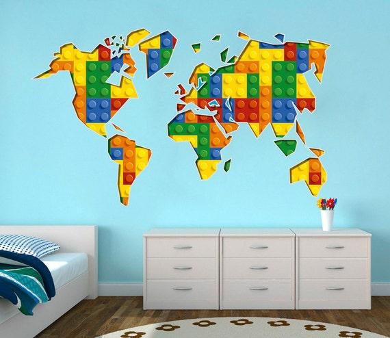 Carte du monde, salle de jeux, blocs de construction, briques, les enfants Decor, Stickers muraux, Stickers muraux, chambre d'enfants, décor de briques, Art mural - SKU:BrickWoMaST