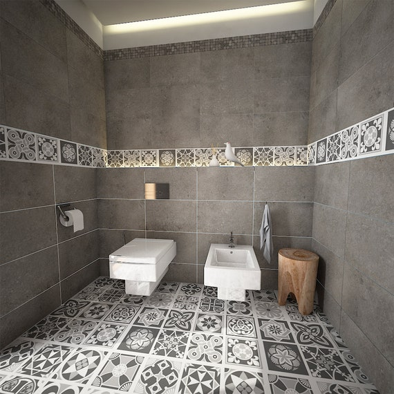 Carrelage Adhesif Floor Tile Stickers Carrelage Autocollant Etsy