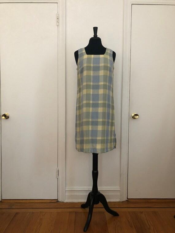 Subtle Pastel Plaid Linen Blend Shift Dress
