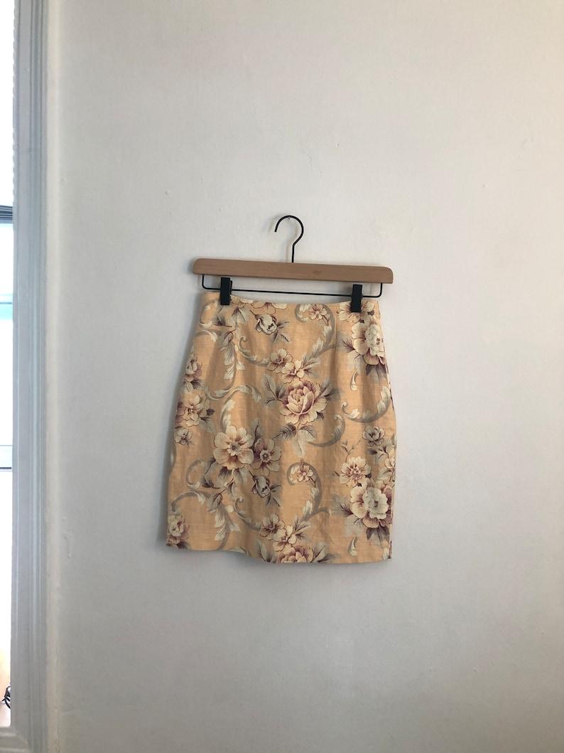 Peach Floral Linen Blend Mini Pencil Skirt Vintage 90/'s The Limited