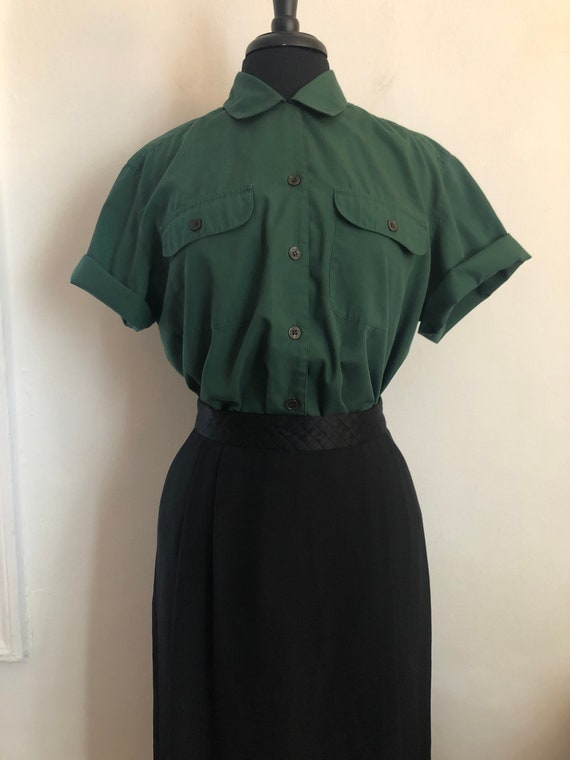Forest Green Cotton Blend Button-Up Blouse