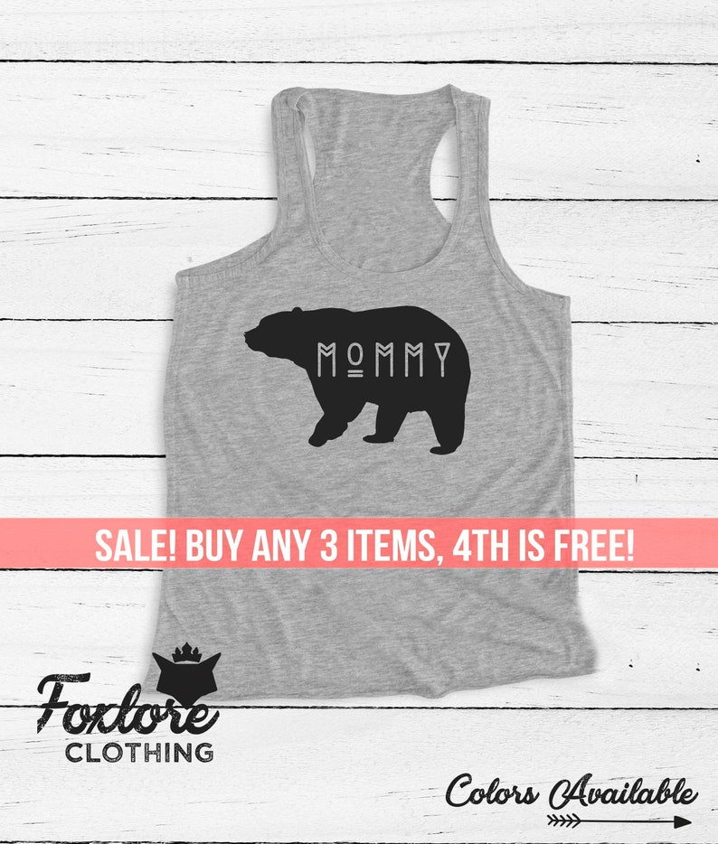 1332e6635932b Mommy Bear Tank Top Tee Racerback Women Ladies Men Funny | Etsy