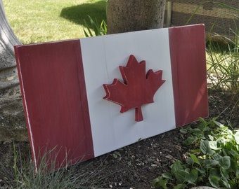 18f9725a3 Wooden Canadian Flag. Rustic. Outdoor. Indoor