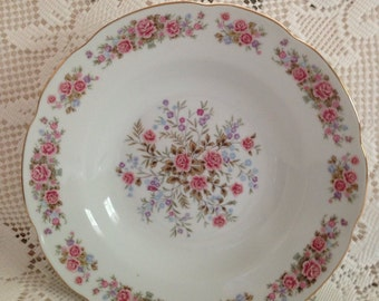 Remington China By Red Sea Serving Bowl, Vintage Serving Bowl, Vegetable Bowl, China Bowl, White With Pink Roses, Floral Bowl