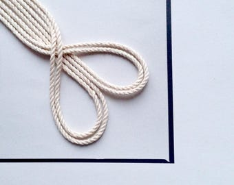 Cotton cord 2.5 mm 1/10'' 20 m, 30m, 50m Triple twisted macrame cord Cotton rope Macrame rope