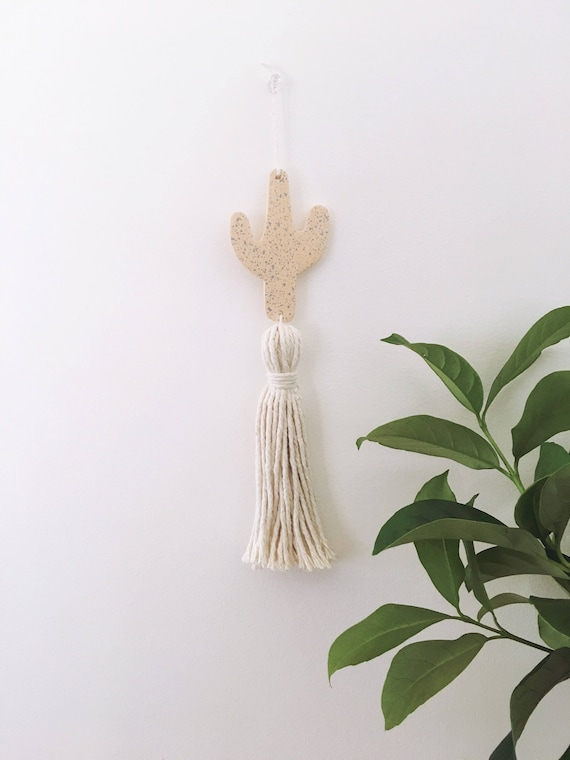 Cactus Wall Hanging With Tassel Cement Wall Hanging Tassel Etsy