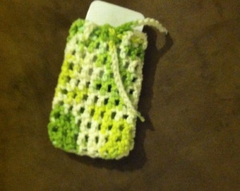 Crocheted Cotton Soap Bag, Soap Saver, Pouch or Sack, even a cell phone holder, Eco-friendly Cotton, Green Variegated Yarn,