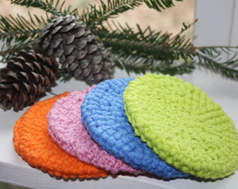 Set of Four (4) Cotton Crocheted Scrubbies, Doublethickness, Eco-friendly Facial Scrubbies, Pink, Orange, Blue and Lime Bath Scrubbies