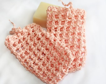 Two Crocheted Hemp Soap Bags, Hemp Soap Savers,  Pair of Peach Colored Soap Pouches, Eco-friendly, Exfoliating Shower Sacks