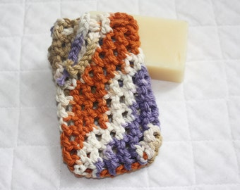 Crocheted Cotton Soap Bag or Sack, Soap Saver made from Rust, Purple and Tan Cotton Yarn, Eco-friendly Pouch, Cell Phone Holder, Shower Bag