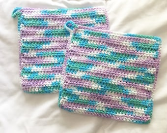 Cotton Crocheted Potholders or Hot Pads, Pair of Teal, Green and Purple Kitchen Pot Holders, Double-thickness and Eco-friendly