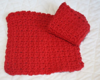 Pair of Crocheted Cotton Dishcloths, Two Red Dishcloths or Washcloths, Kitchen Dishcloths, Eco-friendly. Cotton Yarn Crochet