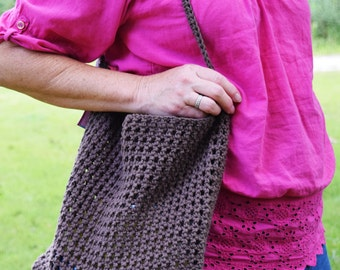 Crocheted Cotton Market Bag, Shopping Bag, Brown Produce Tote, Shoulder Bag, Eco-friendly, Hand-made