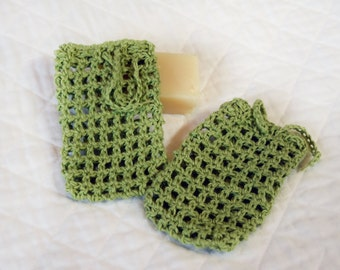 Green Crocheted Hemp Soap Bags, Set of Two Soap Savers, Pouches, Exfoliating Shower Sacks, Eco-friendly