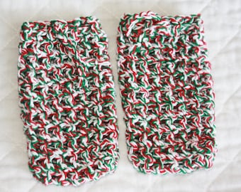 Crocheted Soap Savers, Set of Two Cotton Soap Bags in Christmas Colors, Eco-friendly Shower Pouches, Exfoliating Soap Sacks/Socks