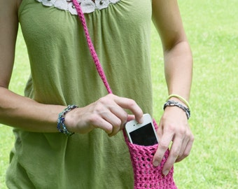 Hot Pink Crocheted Cell Phone Holder or Case with Strap, Eco-friendly Cotton Cell Phone Carry Pouch, Small Purse with Cross-body Strap
