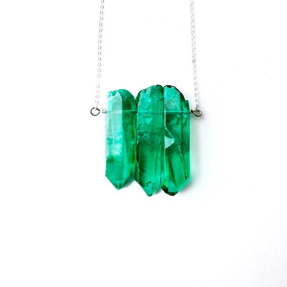 MINT GREEN QUARTZ Choker: Gem Point Necklace Gold Necklace Point Quartz Necklace Gemstone Necklace,Green Quartz Necklace,Quartz Jewelry