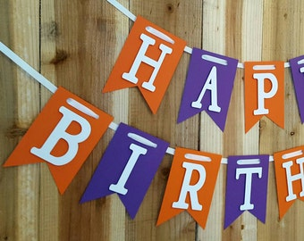 Purple and Orange Happy Birthday, High Chair Banner