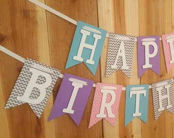 Girl Happy Birthday Banner, High Chair Banner, One Banner
