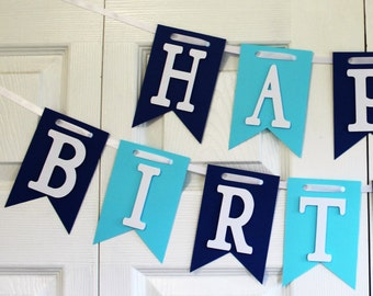Happy Birthday Banner, Happy 1st Birthday Banner, Light Blue and Navy Banner