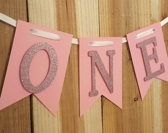 Pink Glitter Banner High Chair Banner, One Banner, Happy Birthday Banner, I Am One Banner, I Am Two Banner