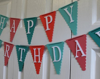 Teal & Coral Happy Birthday Banner, High Chair Banner, One Banner