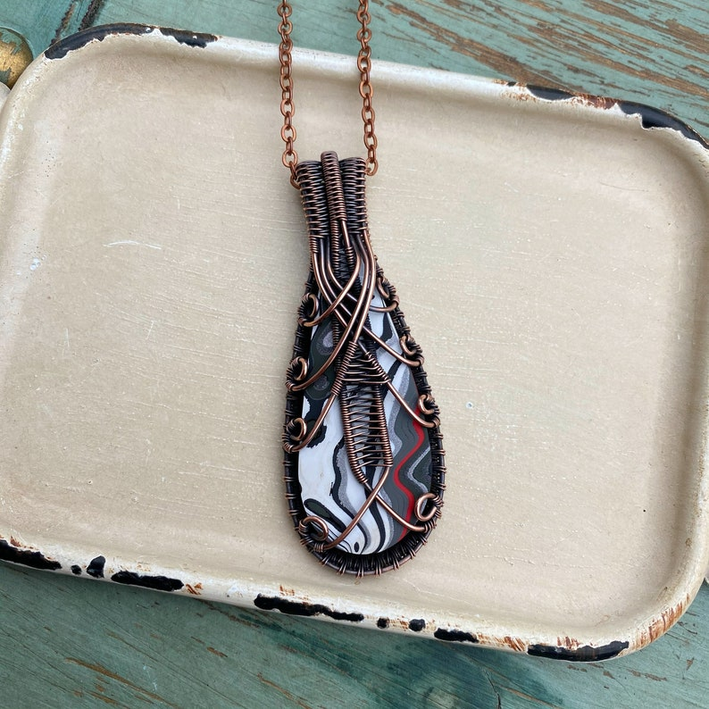 Fordite Wire Wrapped Necklace