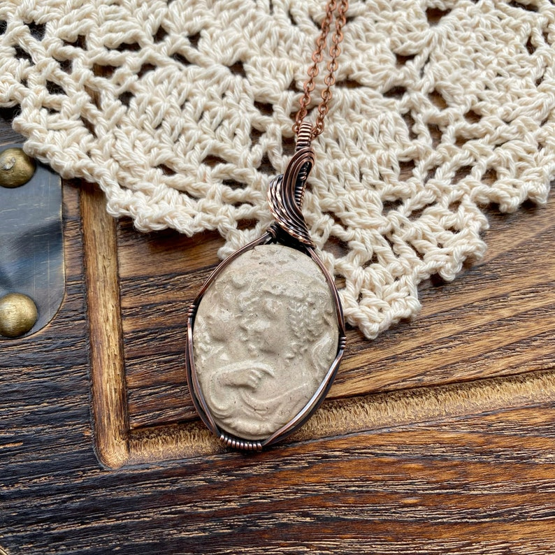 Wire Wrapped Cameo Necklace