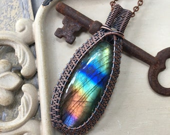 Labradorite Wire Wrapped Necklace