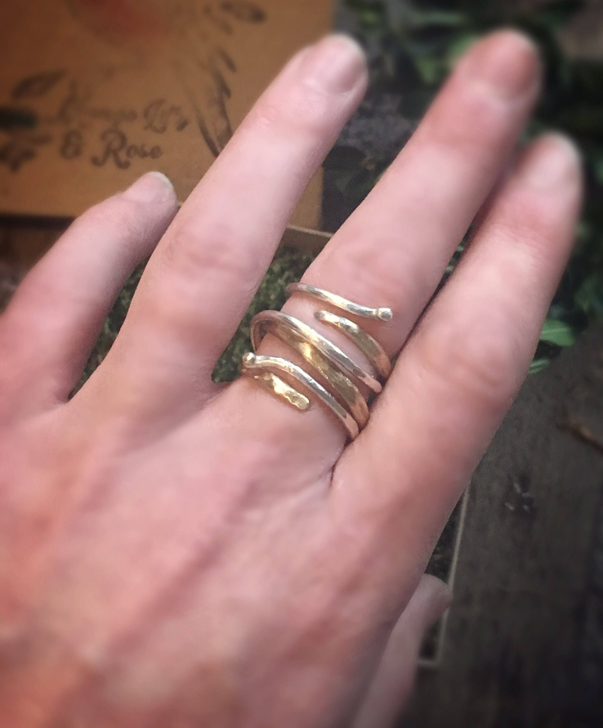 Sterling silver and gold brass triple band rings. Can be worn ...