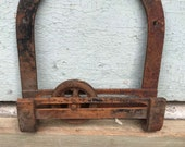 Antique Iron Pulley Slide with Wall Mount.