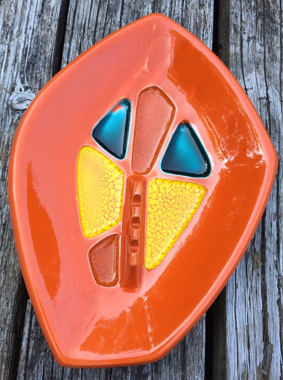 Cool Unique Mid Century Modern Vintage Ashtray or Stuff Holder in Bright Orange Glaze with Blue /& Yellow Marble at 10.12 Long.