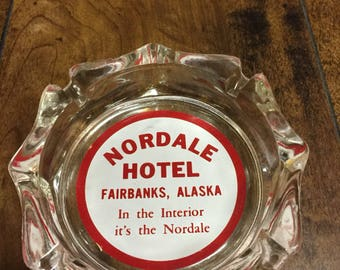 """Vintage Original 1960's """" Nordale Hotel """" Fairbanks Alaska Glass Collectable Ashtray in Mint Condition."""