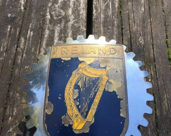 Vintage IRELAND Automotive Cog Wheel Badge. Show Your Pride.