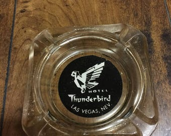 "Vintage Original 1960's ""Thunderbird Motel "" Las Vegas Nevada Glass Collectable Ashtray in Mint Condition."