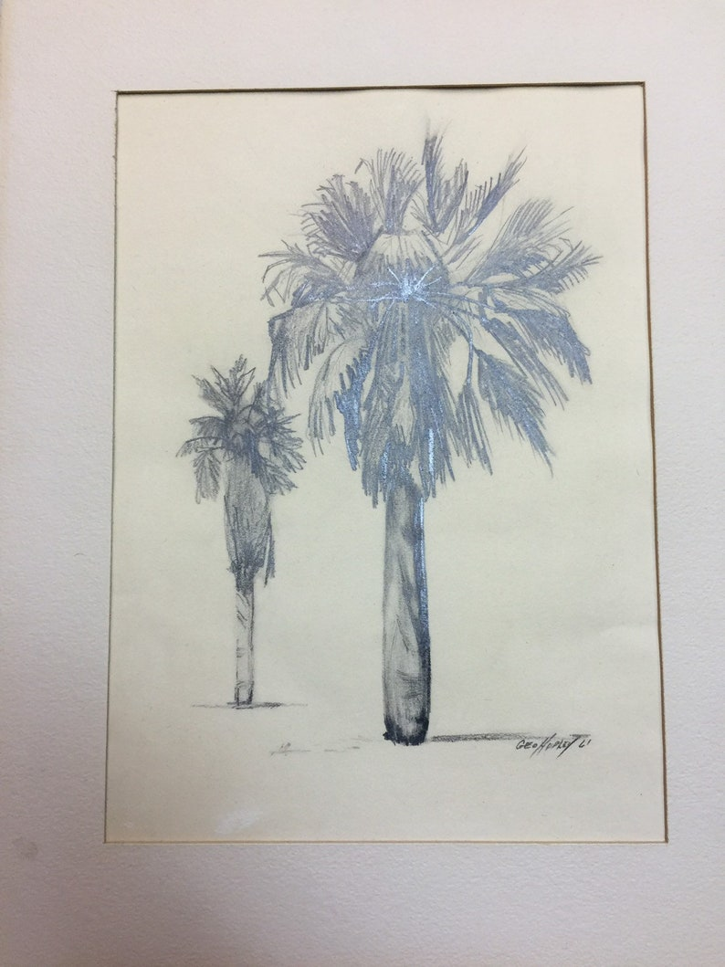 Geo hudley original pencil drawing of palm trees 1961