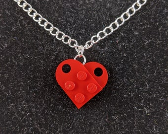 7 Funky Colours Red LEGO Necklace Love Heart Necklace Valentines Wedding Dark Red Blue Light Grey and Dark Grey Yellow Black