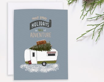 Vintage Christmas Card - Camping Holiday - Winter Adventure - Outdoor Christmas - Vintage Camper Card - RV Christmas - Happy Camper notecard