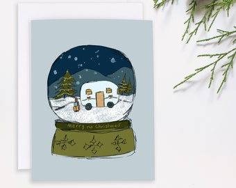 Retro Christmas Card - Camping Holiday - Winter Adventure - Outdoors Christmas - Vintage Camper Card - RV Christmas - Happy Camper notecard