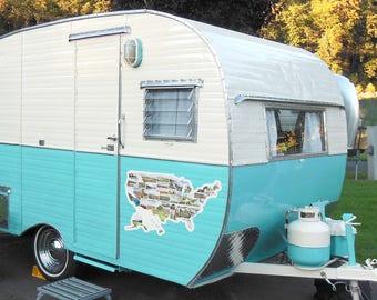 Vintage camper art rv decor gift travel trailer art | Etsy