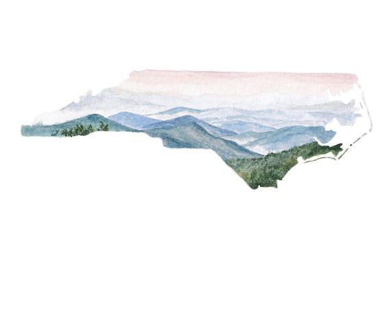 North Carolina Print North Carolina Map North Carolina Etsy - Us-map-nc