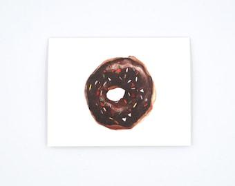 Chocolate Donut Notecard - Donut Art Card - Donut Illustration - Donut with Sprinkles - Watercolor Card -  Blank Notecard - Blank Card