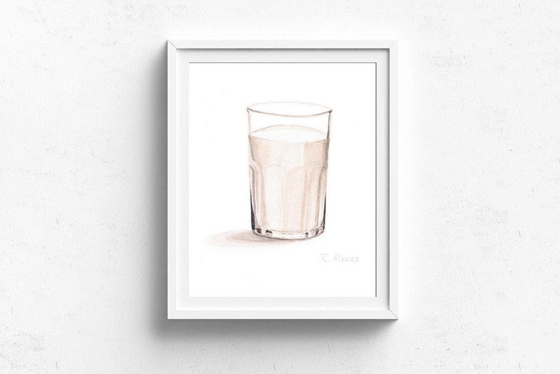 Glass Of Milk Food PRINT Kitchen Decor Dining Room Art