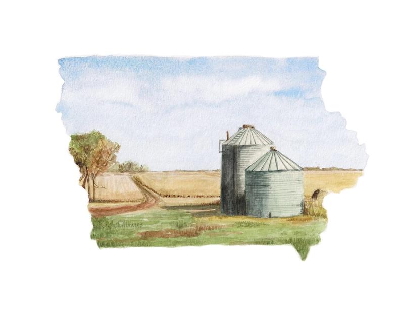 Iowa PRINT Iowa Map Iowa State Art US Map Art | Etsy